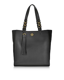 Brooke Black Leather Tote Bag w/Suede Trims - Tory Burch
