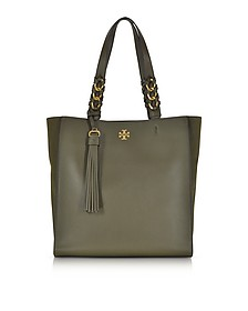 Brooke Leccio Leather Tote Bag w/Suede Trims - Tory Burch