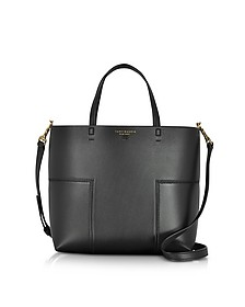Block-T Black Leather Mini Tote Bag - Tory Burch