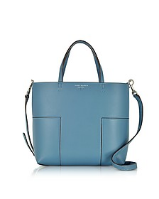 Block-T Blue Yonder Leather Mini Tote Bag - Tory Burch