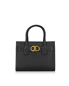 Gemini Link Black Leather Small Tote Bag - Tory Burch