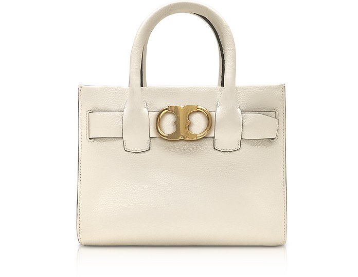990c60826b26 Tory Burch Gemini Link New Ivory Leather Small Tote Bag at FORZIERI