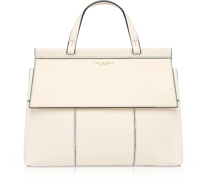 ccb980c70742 Block-T New Ivory and Royal Navy Leather Top Handle Satchel Bag - Tory Burch