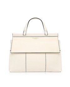 Block-T New Ivory and Royal Navy Leather Top Handle Satchel Bag - Tory Burch