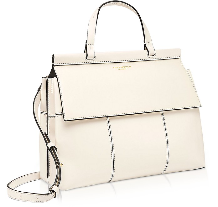 ac0866688f85 Block-T New Ivory and Royal Navy Leather Top Handle Satchel Bag - Tory  Burch.  348.60  498.00 Actual transaction amount