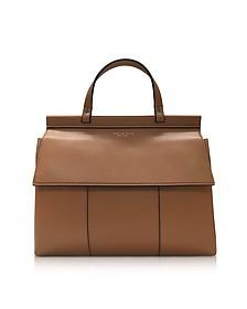 Block-T British Tan Leather Top Handle Satchel Bag - Tory Burch