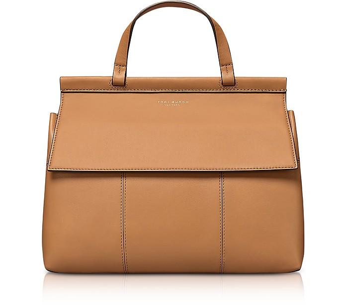 9f04efd93c87 Tory Burch Block-T British Tan Leather Top Handle Satchel Bag at ...