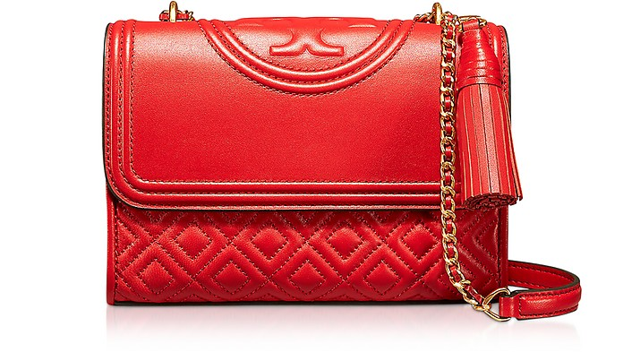 64aed727ec6c Facebook · Twitter · Pinterest · Share on Tumblr. Fleming Exotic Red Leather  Small Convertible Shoulder Bag - Tory Burch