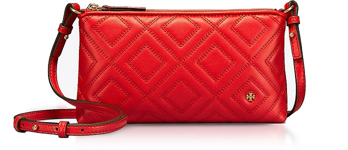 31f5b27dc3f Tory Burch Fleming Exotic Red Quilted Leather Chain Crossbody Bag ...