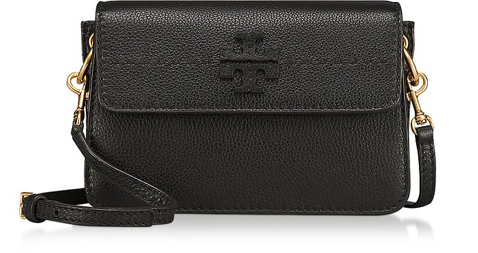 ef3957763aaf Tory Burch McGraw Black Pebbled Leather Crossbody Bag at FORZIERI UK