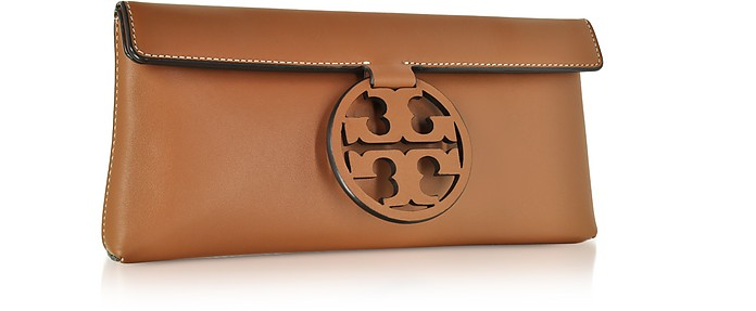 d8e9917f73493a Tory Burch Miller New Cuoio Leather Clutch at FORZIERI