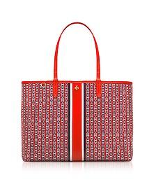 Exotic Red Gemini Link Stripe Canvas Tote Bag - Tory Burch