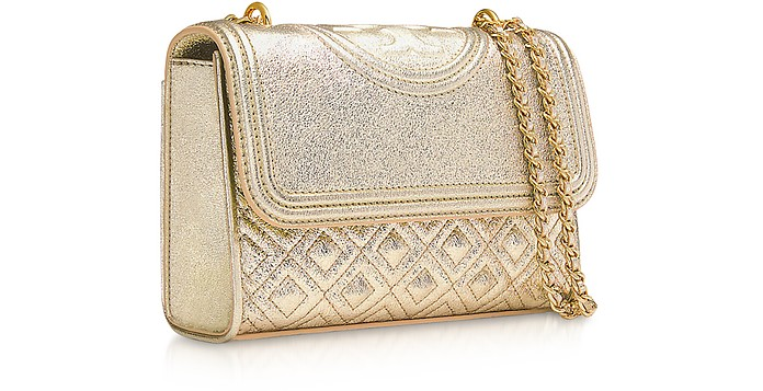 6e8b60e60bfc Facebook · Twitter · Pinterest · Share on Tumblr. White Gold Metallic Leather  Fleming Small Convertible Shoulder Bag - Tory Burch