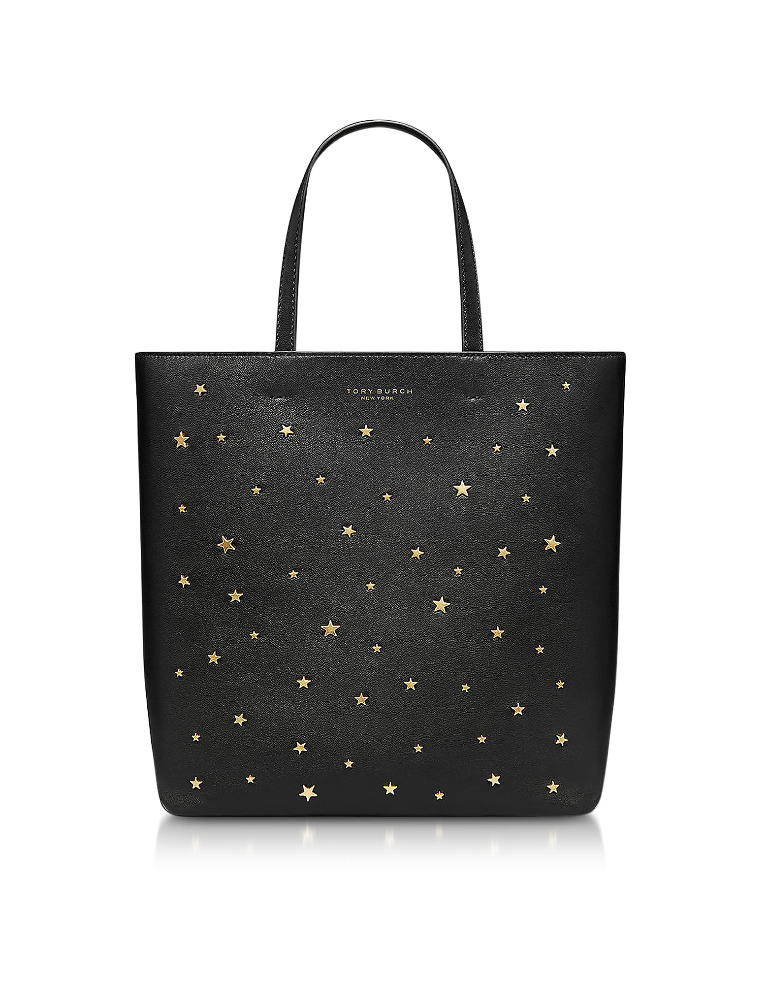 Tory Burch Leathers BLACK STAR STUDS SMALL TOTE BAG