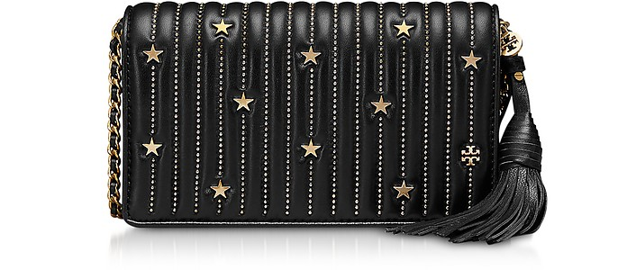1b543f0b6172 Tory Burch Black Star Studs Flat Wallet Crossbody Bag at FORZIERI Canada