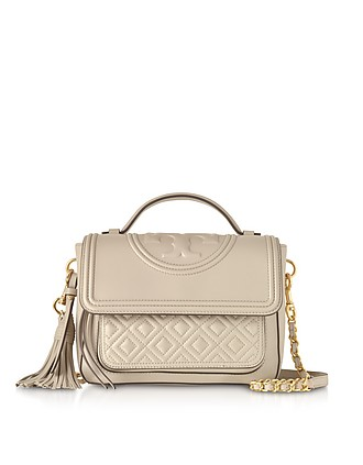 82ebf596f9aa Light Taupe Fleming Leather Satchel Bag w Shoulder Strap - Tory Burch