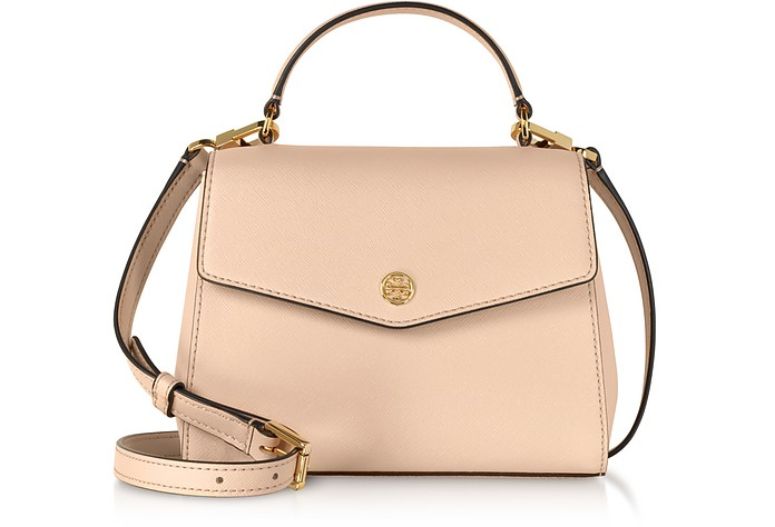 967e4da1b6b8 Tory Burch Pale Apricot Robinson Small Top-Handle Satchel Bag at ...
