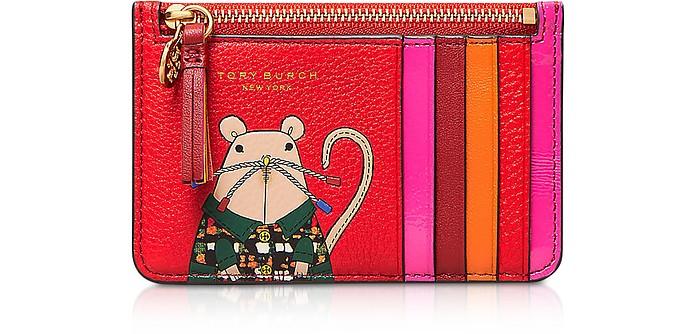 Lunar New Year Rita The Rat Top Zip Card Case - Tory Burch