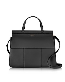 Black T Leather Top Handle Satchel - Tory Burch