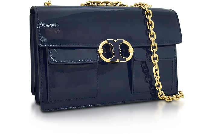 46929c1fdc8 Tory Burch Gemini Link Royal Navy Patent Leather Chain Shoulder Bag. AU 635.00  Actual transaction amount
