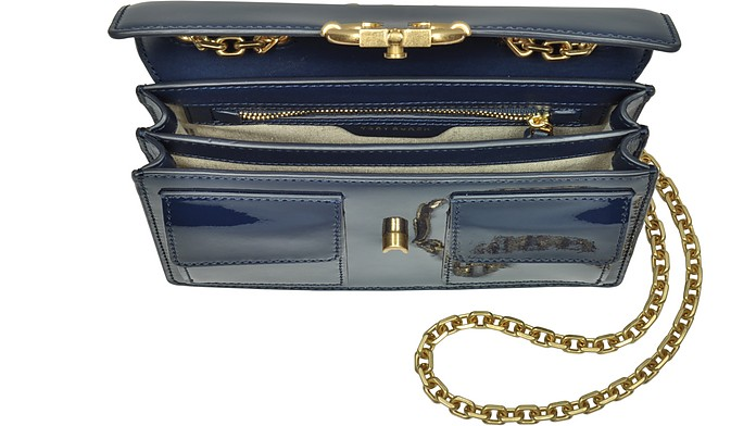 cfff9177415 Gemini Link Royal Navy Patent Leather Chain Shoulder Bag - Tory Burch. AU  635.00 Actual transaction amount