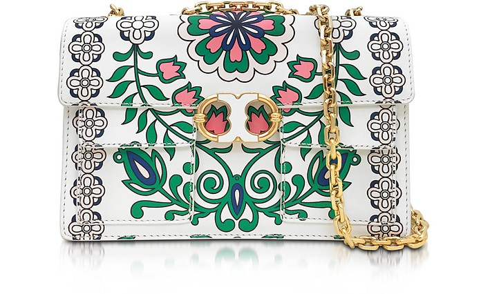 4d44c59b809bc0 Gemini Link Garden Party Printed Leather Chain Shoulder Bag - Tory Burch