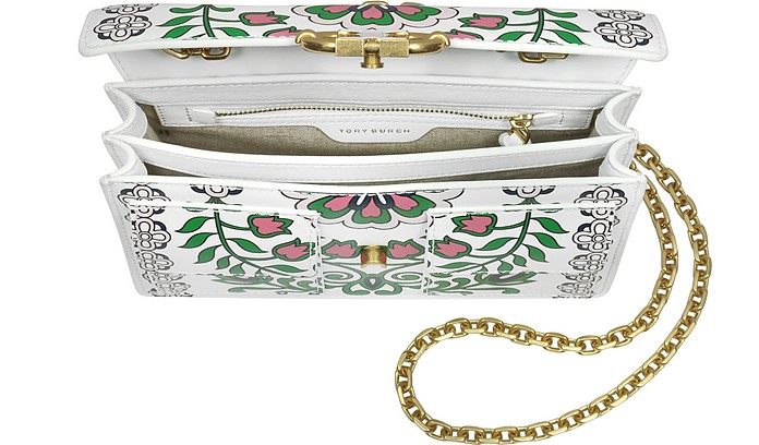 dc163600c07208 Tory Burch Gemini Link Garden Party Printed Leather Chain Shoulder ...