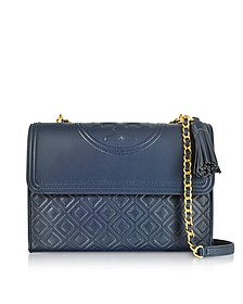 Fleming Royal Navy Leather Convertible Shoulder Bag - Tory Burch