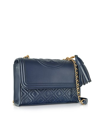 22b82871a41d Tory Burch Navy Fleming Leather Small Convertible Shoulder Bag at FORZIERI