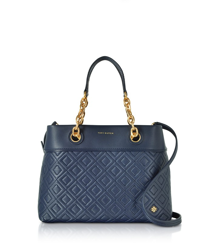 e7d4af876d48a Fleming Royal Navy Leather Small Tote Bag w Shoulder Strap - Tory Burch