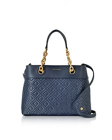 Fleming Royal Navy Leather Small Tote Bag w/Shoulder Strap - Tory Burch