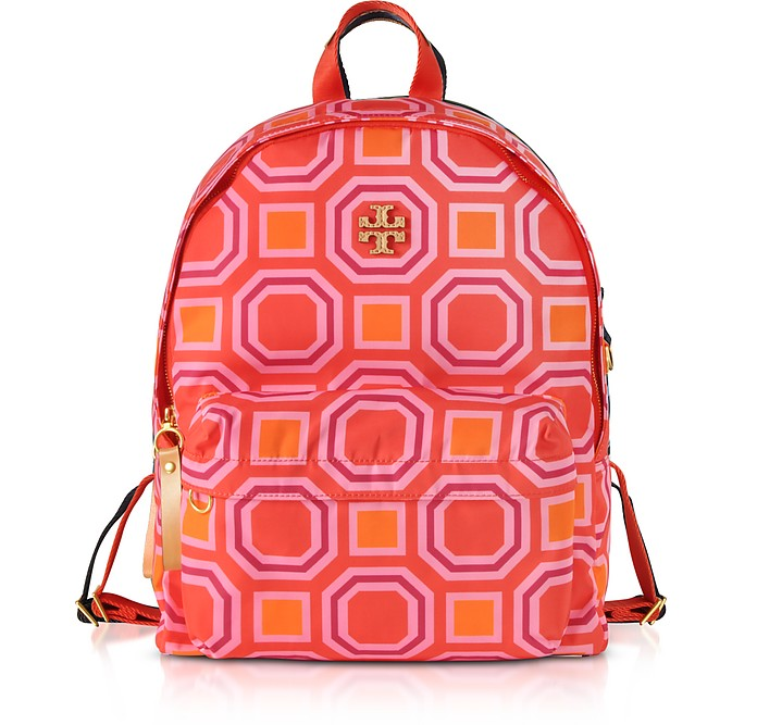 Octagon Square Print Nylon Backpack - Tory Burch