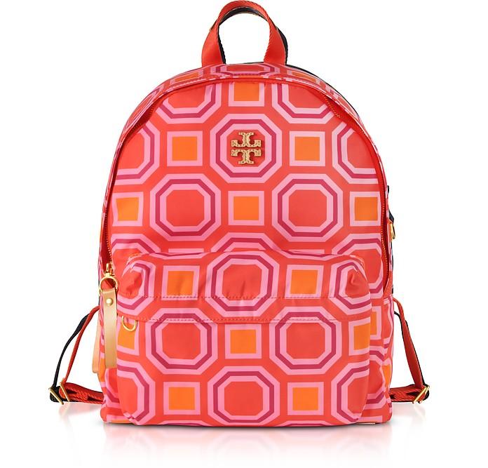 Octagon Square Print Nylon Backpack - Tory Burch