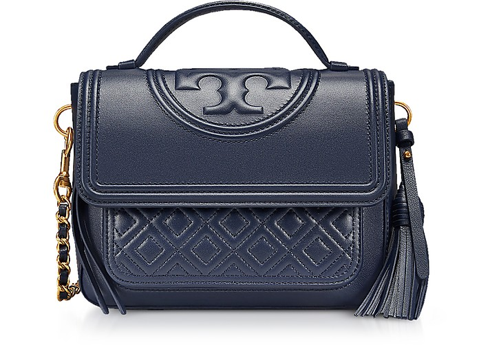 70953e943c34 Tory Burch Navy Fleming Leather Satchel Bag w Shoulder Strap at ...