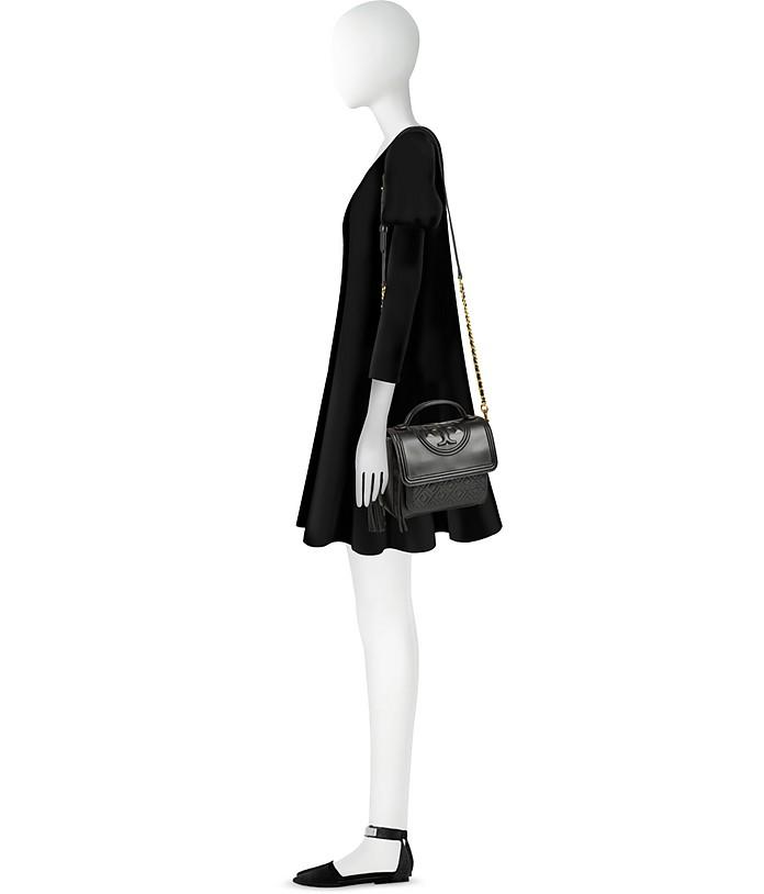 Fleming Leather Satchel Bag w/Shoulder Strap Tory Burch Nero S48IqPHviz
