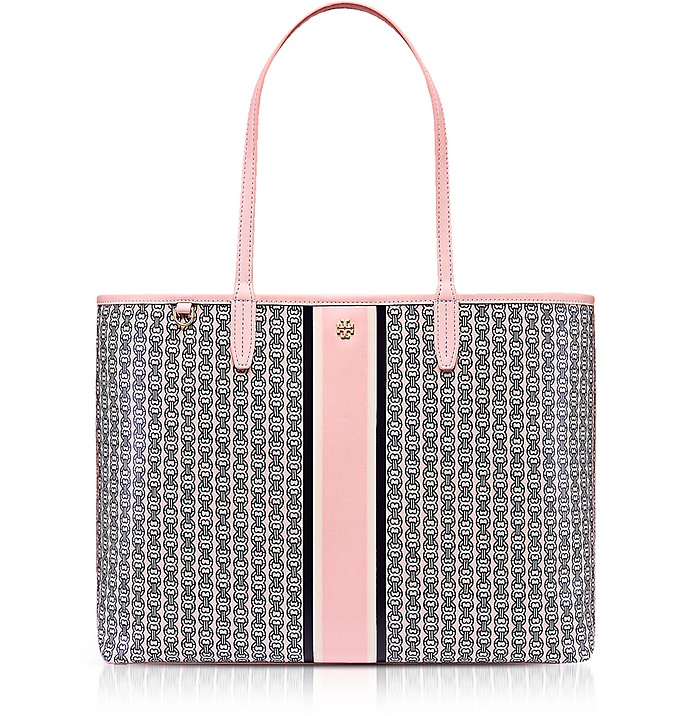 Pink Gemini Link Stripe Canvas Tote Bag Tory Burch 0vjdHzs
