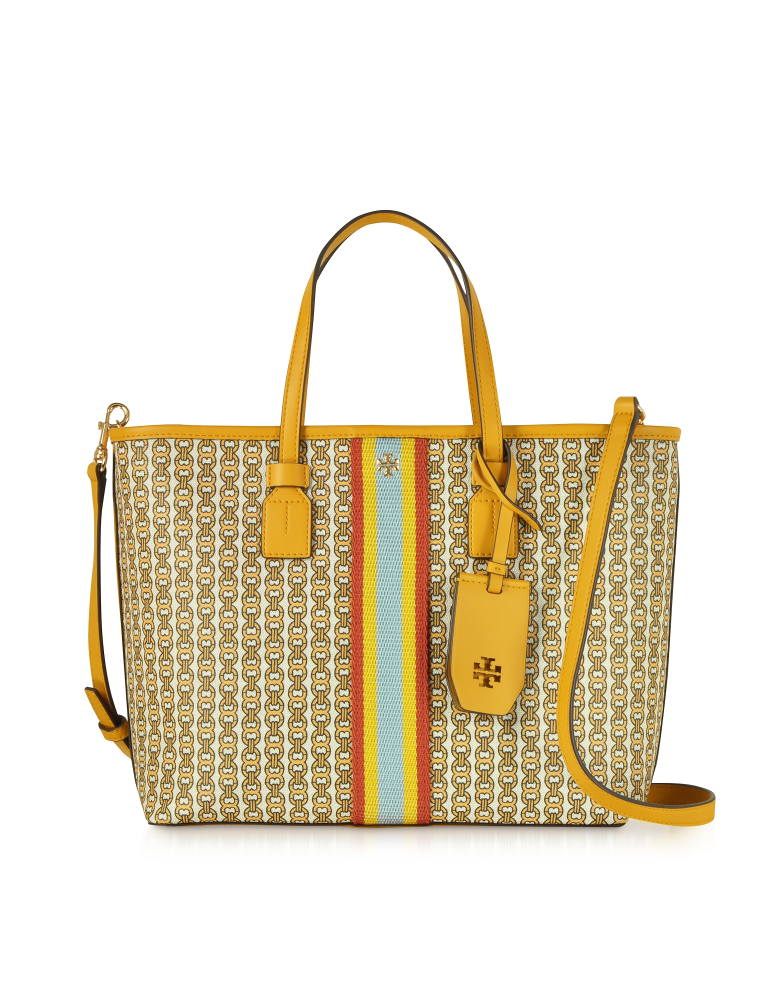 d96fd3fad423 Tory Burch Gemini Link Coated Canvas Small Tote Bag In Yellow