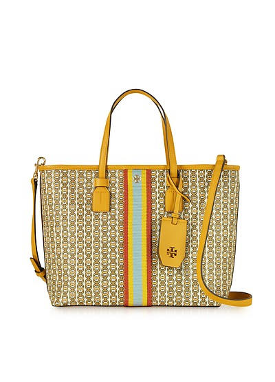 Gemini Link Shopping bag in Canvas con Logo  - Tory Burch