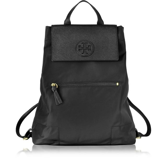a7e7efddaccf Tory Burch Ella Black Nylon Packable Backpack at FORZIERI