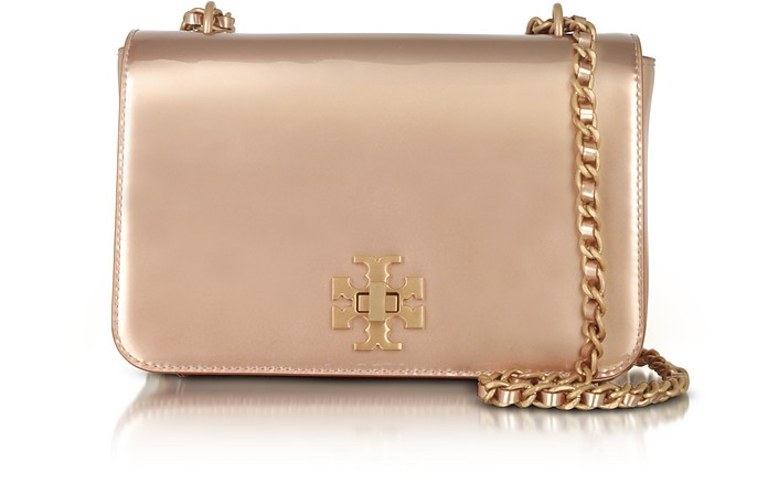 Mercer Rose Gold Metallic Leather Adjustable Shoulder Bag - Tory Burch