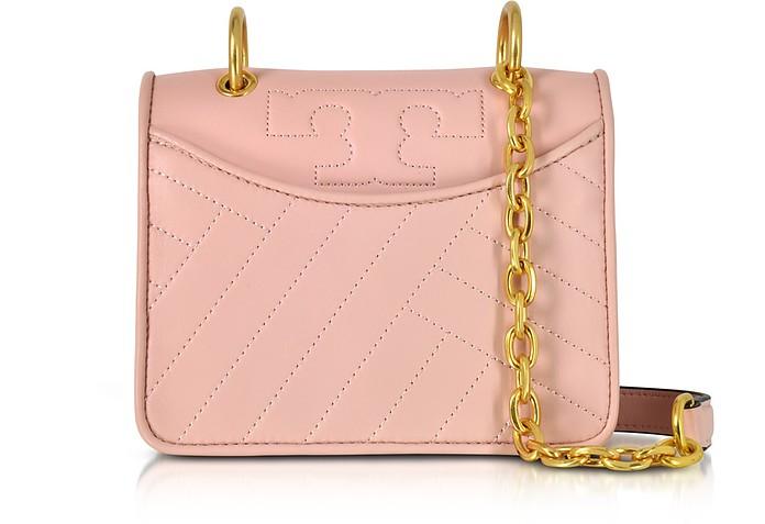 0a95ba4b05be Tory Burch Alexa Dark Pink Quartz Leather Mini Shoulder Bag at ...