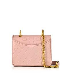 Alexa Dark Pink Quartz Leather Mini Shoulder Bag - Tory Burch
