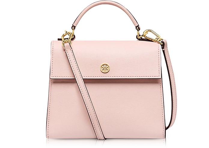 52ffd45d6f7 Tory Burch Parker Pink Quartz Leather Small Satchel Bag at FORZIERI ...