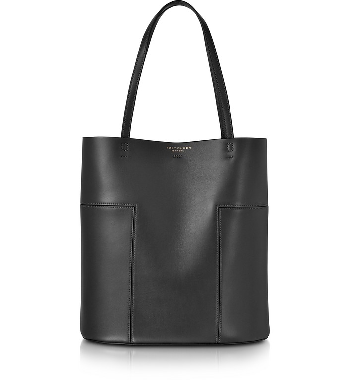 Block-T Leather Medium Tote - Tory Burch