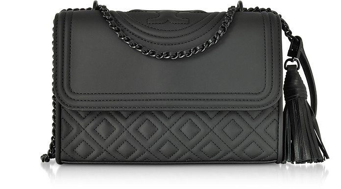 fc7d3aea55eff Tory Burch Fleming Black Matte Small Convertible Shoulder Bag at ...