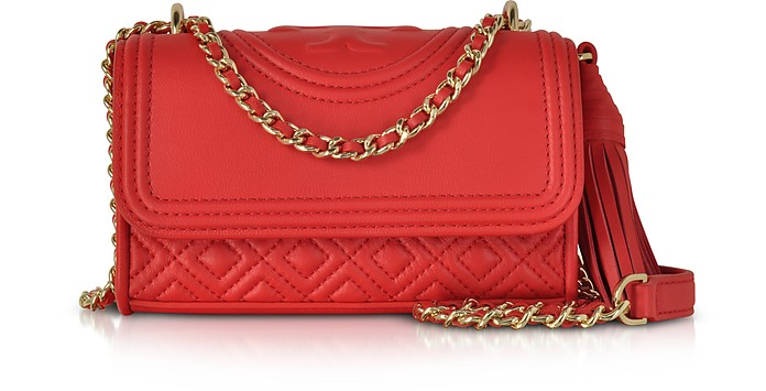 e80bfe3028d Tory Burch Fleming Red Volcano Leather Micro Shoulder Bag at FORZIERI