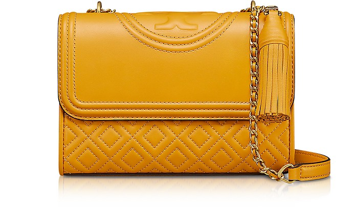 38583f156db Tory Burch Yellow Fleming Quilted Leather Small Convertible Shoulder ...