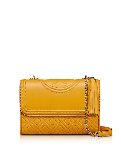 e7c2ab282f68 Tory Burch Yellow Fleming Quilted Leather Small Convertible Shoulder ...