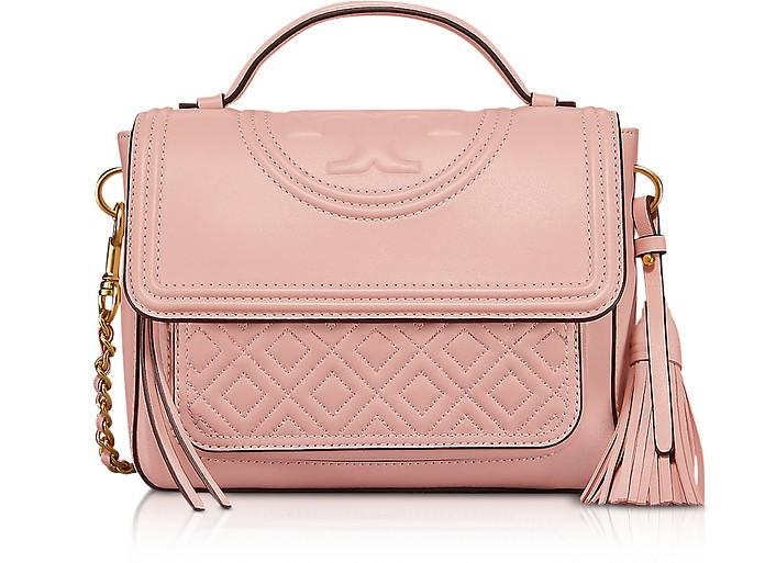Shell Pink Fleming Leather Satchel Bag w/Shoulder Strap - Tory Burch