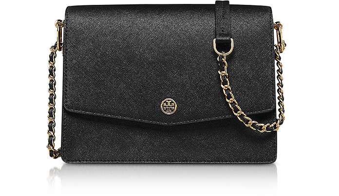 Black Saffiano Leather Robinson Convertible Shoulder Bag - Tory Burch